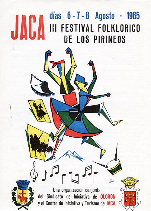 Cartel del III Festial Folklórico de los Pirineos 1965
